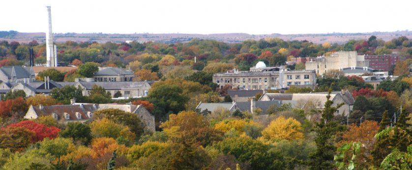 Kansas State University campus during the fall
